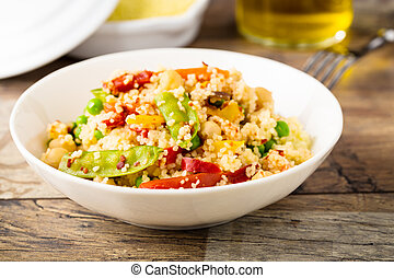 Cous cous with veggies - fresh cous cous with mixed grilled...