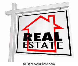 Real Estate House Home for Sale Sign 3d Illustration