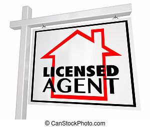 Licensed Real Estate Agent Home House Seller Sign 3d Illustration