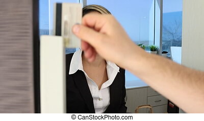 Salesperson giving customer goods after paying - Woman...