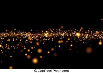 christmas golden light shine particles bokeh on black...