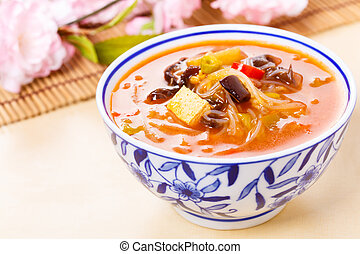 chinese hot and sour soup - Chinese hot and sour soup served...