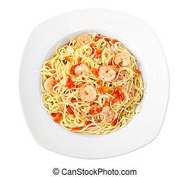 shrimp garlic pasta plate isolated on white background