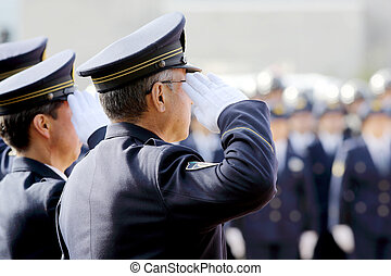 Saluting Japanese police officers, Sietusiki ceremony