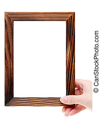Hand holding blank wooden frame on white background