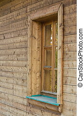 The window of izba - The window of wooden 18 century izba 18...