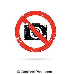 sign of no camera color design illustration