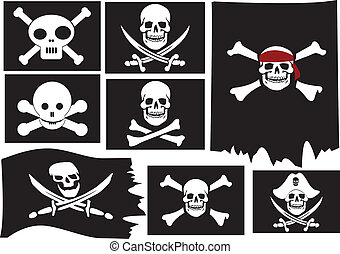 Skull and crossbones. Pirate flags. Vector illustration