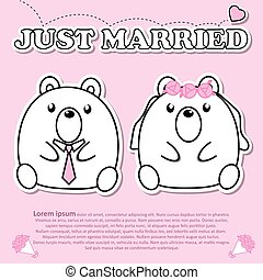 Lovely couple cute bear just married wedding in Valentine and paper cut sticker concept