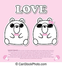 Lovely couple cute bear wear sunglasses and pink bow tie in Valentine and paper cut sticker concept