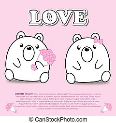 Lovely couple cute bear with bouquet of pink rose flower in Valentine and paper cut sticker concept