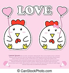 Lovely couple cute Cock with pink heart balloon in Valentine and paper cut sticker concept