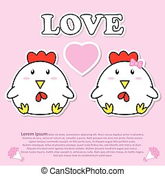 Lovely couple cute cock with pink heart in Valentine and paper cut sticker concept