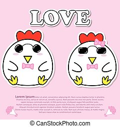 Lovely couple cute Cock with sunglasses and pink bow tie in Valentine and paper cut sticker concept