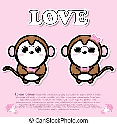 Lovely couple cute monkey wear sunglasses with pink bow tie in Valentine and paper cut sticker concept