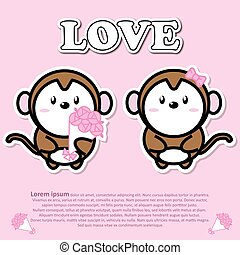 Lovely couple cute monkey with bouquet of pink rose flower in Valentine and paper cut sticker concept