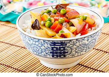 Rice with sweet and sour vegetables - rice with sweet and...