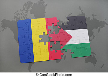 puzzle with the national flag of romania and palestine on a...