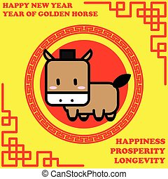 Happy new year of Golden Horse year on golden background and...