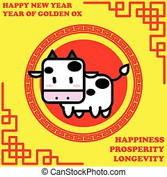 Happy new year of Golden Ox year on golden background and...