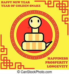 Happy new year of Golden Snake year on golden background and...