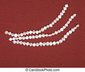 String of natural white freshwater pearl beads - Three...