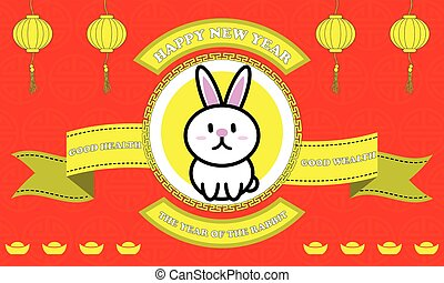 Happy new year of Rabbit year on Red background and golden...