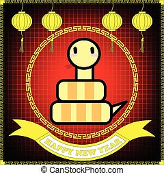 Happy new year of Snake year on red table background and...