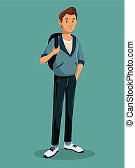 teen boy standing with jeans tennis rucksack