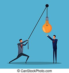 two men business lift bulb creative