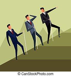 business men team climb growth