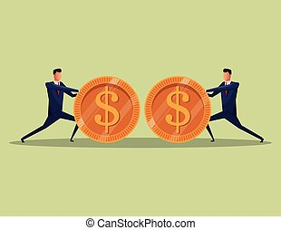 men business concept finance money coins team