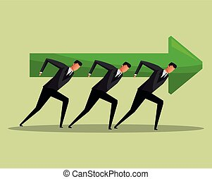 team work men arrow growth concept cooperation