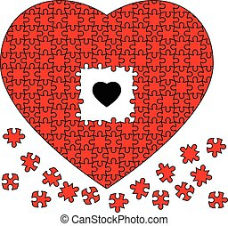 Black heart in Red jigsaw puzzle of heart on white background