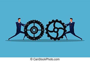 men business team work gears