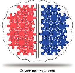 Colorful jigsaw puzzle in Brain vector icon on white background