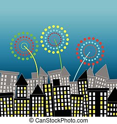 Night scene of city town with colorful firework