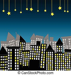Night scene of city town with hanging star