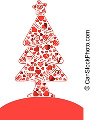 Pine tree of red heart icon vector on white background