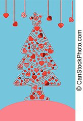 Pine tree of red heart icon vector with heart hanging on blue background