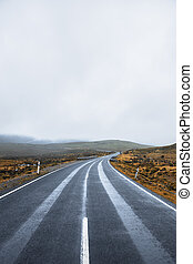 Road and mountains in the Tasmanian countryside - Road and...