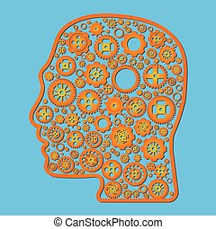 Variety different orange gear wheel icon vector in outline head on blue background