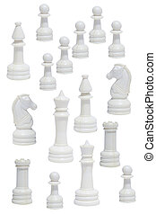 Complete of the white chessmen under the white background