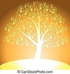 Yellow tree of light bulb icon on yellow background
