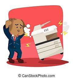 because, empresa / negocio, fotocopia, perro, máquina, roto,...