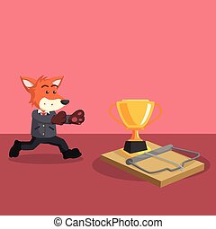 business fox running into mouse trap with trophy