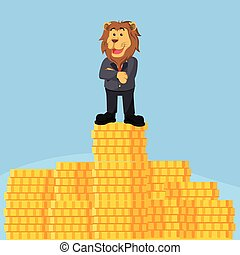 business lion on top of stack of coin