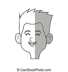 cartoon kid icon - happy boy cartoon icon over white...