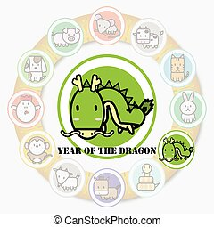 Year of the DRAGON with Circle animal sign of chinese zodiac fortune in asian culture