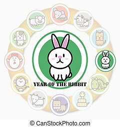 Year of the RABBIT with Circle animal sign of chinese zodiac fortune in asian culture